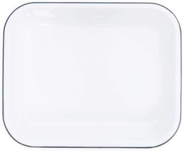 Enamelware Open Roaster, 13 x 10 inches, Vintage White/Grey