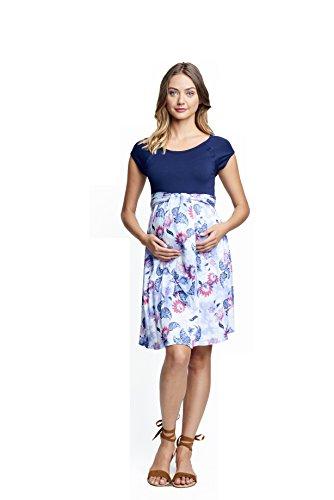 - Maternal America Women's Maternity Front Dress, Navy/tie dye Rose, Large