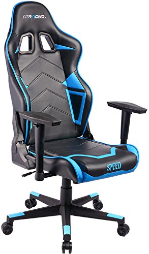 GTracing Ergonomic Office Chair Racing Chair Backrest and Seat Height Adjustment Computer Chair With Pillows Recliner Swivel Rocker Tilt E-sports Chair (Black/Blue) by GTRACING