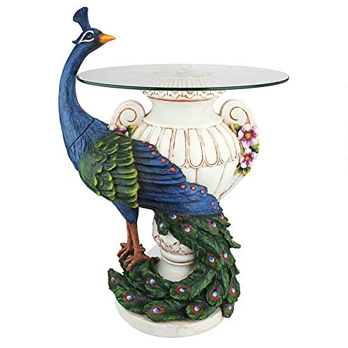 Design Toscano Staverden Castle Peacock Glass Topped Side Table, 25 Inch, Polyresin, Full Color by Design Toscano