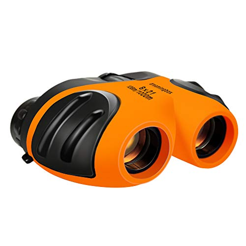Toys for 4-8 Year Old Boys, Old Girls Compact Waterproof Travel Binoculars Night Vision Orange TG05 (Best Toys For 7 Yr Old Girl)