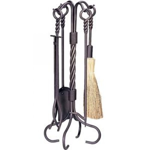 (BLUE RHINO #F-1643 Uniflame 5-piece Bronze Fireplace Toolset with Ring/Swirl handles.)