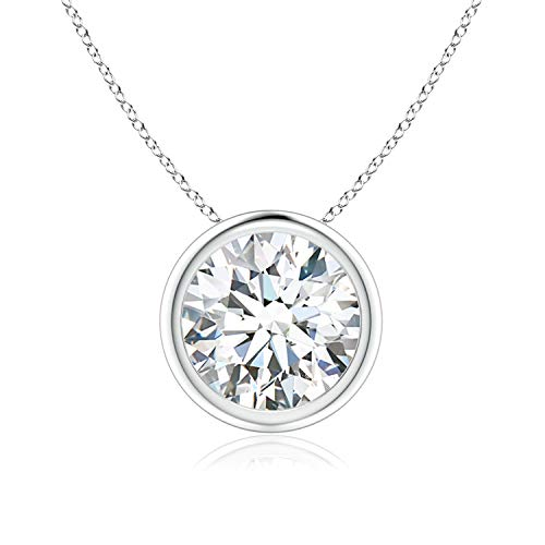 Bezel-Set Round Moissanite Solitaire Pendant in 14K White Gold (8mm Moissanite)