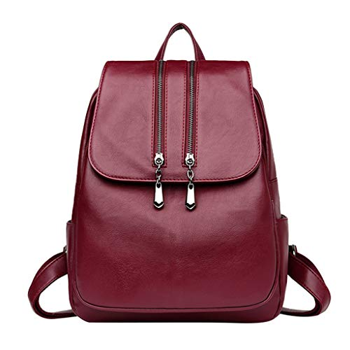 (OutTop(TM) Women's Leather Backpack Travel Satchels School Bag Computer Bag Shoulder Bag Multifunctional Bag With Zipper (Red))