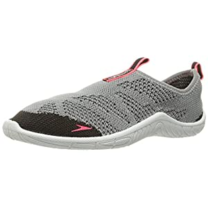 Speedo Women's Surf Knit Athletic Water Shoe, Grey/Neon Pink, 8 C/D US