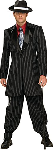 Rubie's Adult Large Gangster Pinstripe Costume Zoot Suit 44-46 Black/White -
