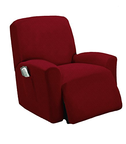 Golden Linens One piece Stretch Recliner Chair Furniture Slipcovers with Remote Pocket Fit most Recliner Chairs (Burgundy)