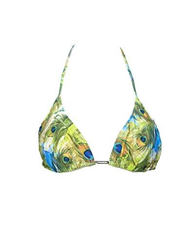 Cia Maritima Peacock Feather Print Plumage String Brazilian Bikini Top (S)