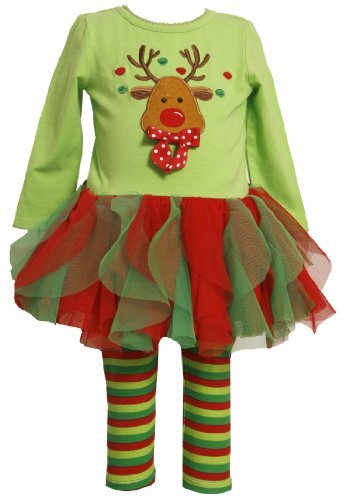Red and Green Reindeer Tutu Outfit for Baby Girls
