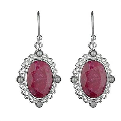 2d4b02a637 925 Sterling Silver Jewelry RUBY & Pearl natural gemstone earrings  affordable price 6.08g fashion stylish