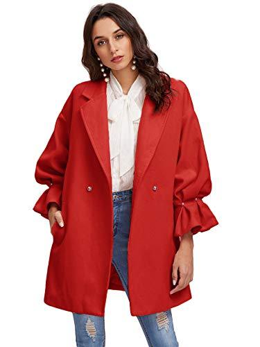 Ruffle Peacoat (Milumia Women's Drop Shoulder Pearl Detail Ruffle Cuff Long Sleeve Coat Windbreaker Red L)