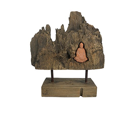 (Turtle King D19046 Terracotta Sitting Buddha with Log Terracotta/Wood Finish)