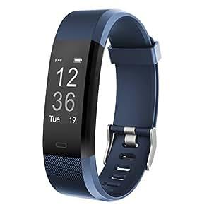 Monitor de Fitness Muzili YG3 Plus Pulsera Actividad Reloj Medidor Deportivo Inteligente Podómetro con monitor de ritmo cardíaco/GPS /Contador de pasos/Control del sueño para Android e iOS (Azul)