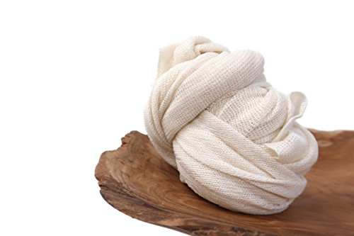 "Off white Stretch Wrap Newborn Baby Photo Prop Swaddling Fabric, Baby Wrap Photo Props, 20"" x 48"" Swaddle Wraps, Fabric Photography Props, Receiving Blanket, LUX Almond Milk - CUSTOM PHOTO PROPS (Milk Almond Light)"