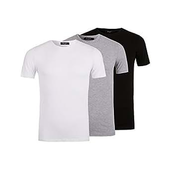 Nineties Paquete de 3 Camisetas Básicas Negro/Blanco/Gris - Para Hombre - Tee-Shirt Clásico Casual Mangas Cortas - Algodón - Desde XS Hasta XL