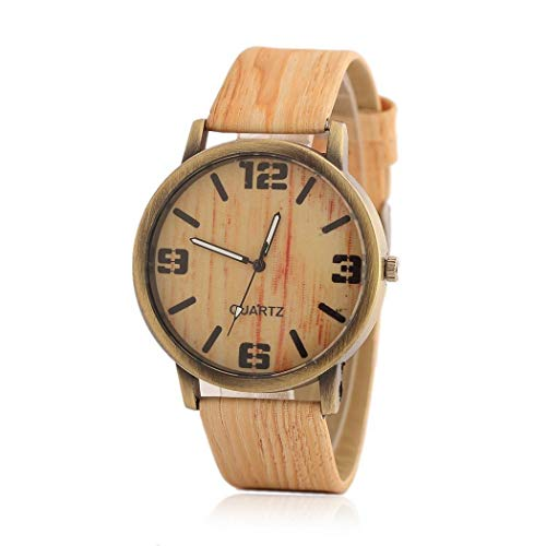 Nessere Unisex Fashion Wood Grain Artificial Leather Band Round Dial Quartz Watch Smart Watches