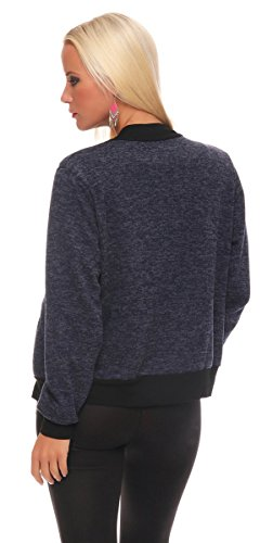 Taille Empire Schwarz Fashion4young Noir Blouson Femme Dunkelbau vqxAR