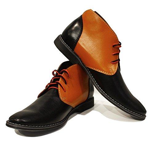 Modello Ilario - Cuero Italiano Hecho A Mano Hombre Piel Naranja Chukka Botas Botines - Cuero Cuero Suave - Encaje: Amazon.es: Zapatos y complementos