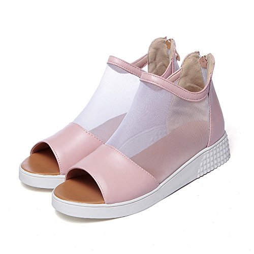 Women's Soft Wedges Sandals Material heels Low AllhqFashion Zipper Open Solid Toe Pink qw1dOnZ