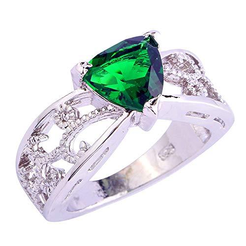 (PAKULA Silver Plated Women Trillion Cut Simulated Emerald Quartz Leaf Band Ring)