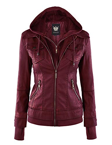 Lock and Love LL WJC664 Womens Faux Leather Jacket with Hoodie S Wine (Womens Maroon Leather Jacket)