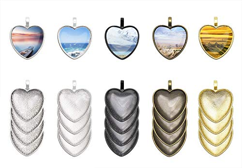 (Penta Angel 20Pcs 5 Colors Heart Shape Bezel Pendant Trays Bezel Setting Trays with 20Pcs Clear Glass Dome Cabochon for DIY Craft Photo Jewelry Making (Heart Shape-40Pcs))