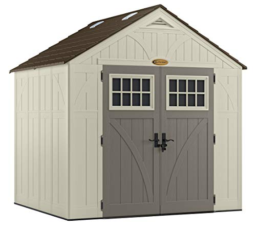 (Suncast 8' x 7' Tremont Storage Shed with Windows - Outdoor Storage for Backyard Tools and Accessories - All-Weather Resin Material, Transom Windows and Shingle Style Roof )