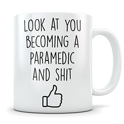 Paramedic Graduation Gifts - Health Science Graduates - EMT Coffee Mug for Men and Women School Students Class of 2018 - Funny Grad Congratulations for Future Paramedics