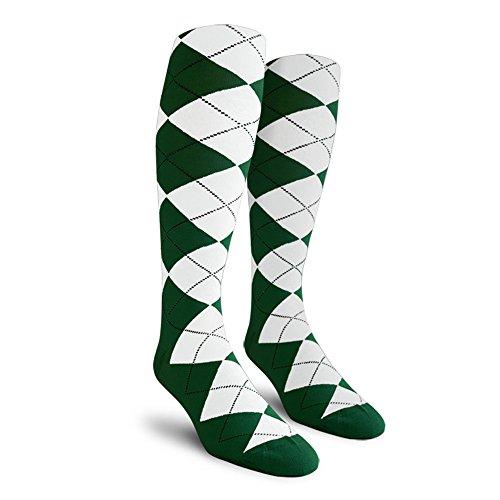 Argyle Golf Socks - Argyle Golf Socks: Over-the-Calf - Dark Green/White - Mens