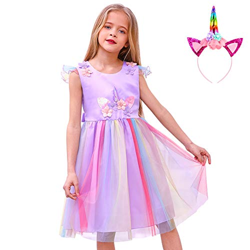 Childrens Wedding Dress Costume (MHJY Unicorn Dress with Headband Unicorn Costume for Girls Wedding Birthday Party Princess Dress Festival Pageant Tutu)