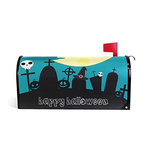 ZZKKO Happy Halloween Big Moon Cute Owls Mailbox Covers Magnetic Seasonal Colorful Pattern Home Houses Decorations,25.5x20.8 Inch Large -