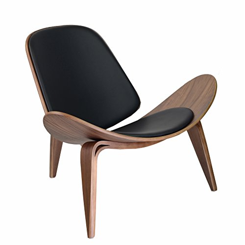 Design Tree Home Hans Wegner Shell Chair Replica, Walnut Plywood and Black Leather (Chair Replica Design)