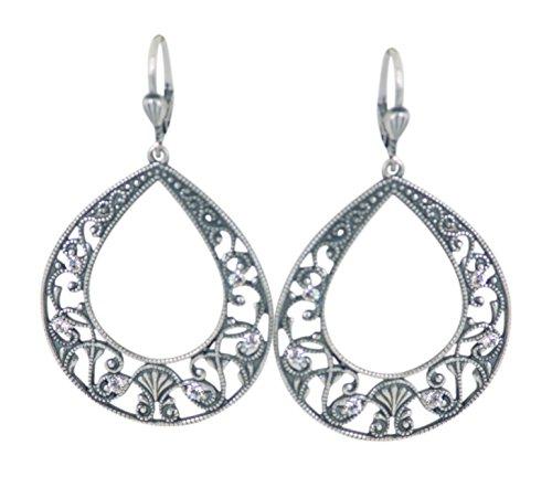Ayala Designer Earrings (Catherine Popesco La Vie Parisienne Filigree Hoop Earrings Swarovski Crystals)