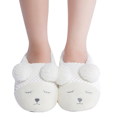 Bedroom Winter Hys7129 House Maamgic Womens White Fuzzy Ladies Slippers Cute Knit Christmas Animal Indoor q78Ppw