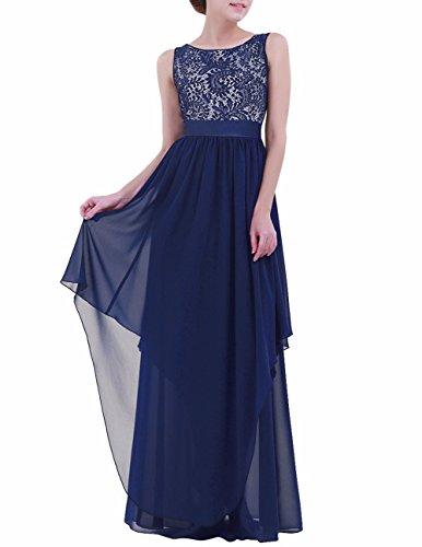 Espalda Boda al Vestido Oscuro Largo Freebily Elegante Cóctel Graduación Aire Mujer de Noche Azul Chica para Vestido UwfORqB7