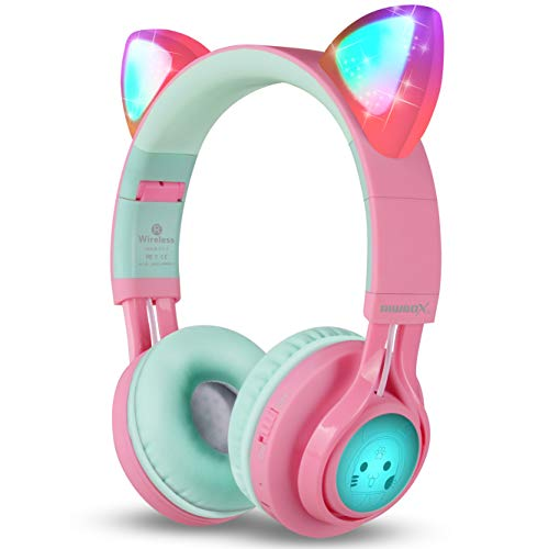 Riwbox Bluetooth Headphones, CT-7 Cat Ear LED Light Up Wireless Foldable Headphones Over Ear with Microphone and Volume Control for iPhone/iPad/Smartphones/Laptop/PC/TV (Pink&Green)