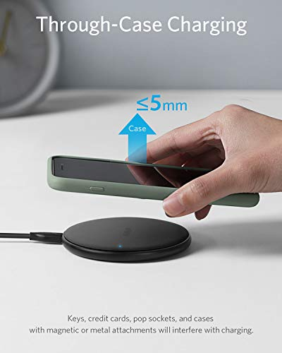 Anker Wireless Charger, PowerWave Pad Qi-Certified 10W Max for iPhone 12, 12 Mini, 12 Pro Max, SE 2020, 11, 11 Pro, AirPods, Galaxy S20 (No AC Adapter, Not Compatible with MagSafe Magnetic Charging)