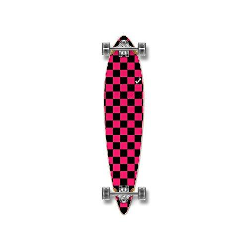 Yocaher Blank/Checker Complete Pintail Skateboards Longboard Cruiser w/Black Widow Premium 80A Grip Tape Aluminum Truck ABEC7 Bearing 70mm Skateboard Wheels (Complete - Pintail - 00 - Checker ()