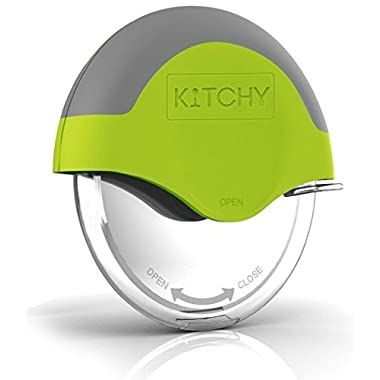 Kitchy Pizza Cutter Wheel with Protective Blade Guard, Super Sharp and Easy To Clean Slicer, Stainless Steel (Green)