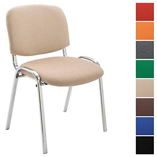 CLP Silla De Conferencia Ken Chrom En Tela I Silla Confidente Apilable I Silla De Oficina Sin Ruedas con Base de Metal I Color: Crema