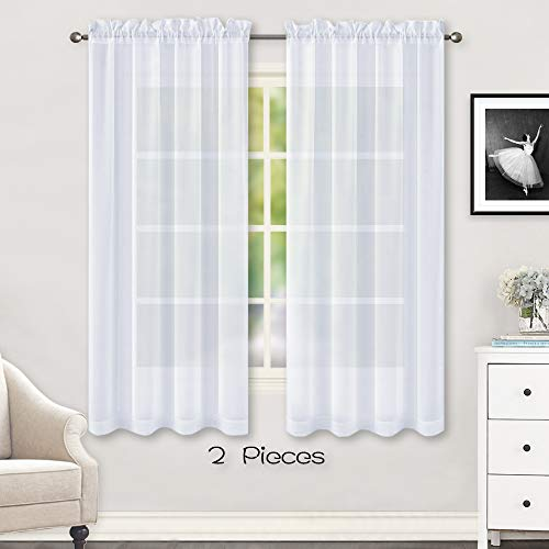 Huto White Sheer Curtains 63 Inches Long For Bedroom Top Rod Pocket Sheer Window Panels Curtains For Nursery Living Room 52 By 63 Inch Length Set Of 2 Buy Online In Gibraltar