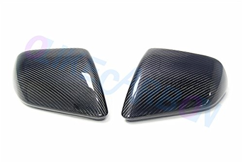 Real Carbon Fiber Mirror Rear View Side Mirror Covers for Ford Mustang 2015-2017 With Turn Signal Sticker (EU-TYPE Without Turn ()