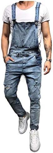 VITryst-Men Denim Pants Washed HolesPockets Jeans Suspender Bib Overall