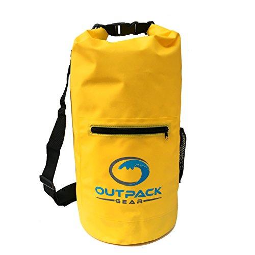 Outpack Gear Dry Bag Waterproof Backpack   Lightweight Daypack Sport Sackpack   Roll Top, Zip Pocket, Water Bottle Holder, Shoulder Straps   Kayaking Beach Boating Gym Hiking Swim Camping   Yellow 20L