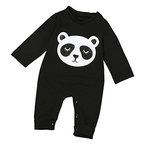Winhurn Newborn Baby Lovely Panda Pattern Long Sleeve Black Jumpsuit Romper (S, Black)