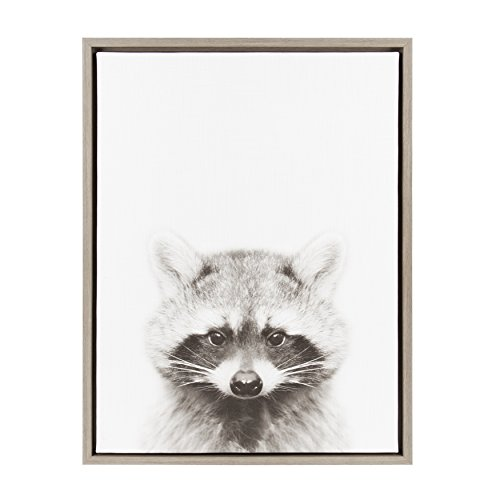 Kate and Laurel Sylvie Raccoon Black and White Portrait Gray Framed Canvas Wall Art by Simon Te Tai