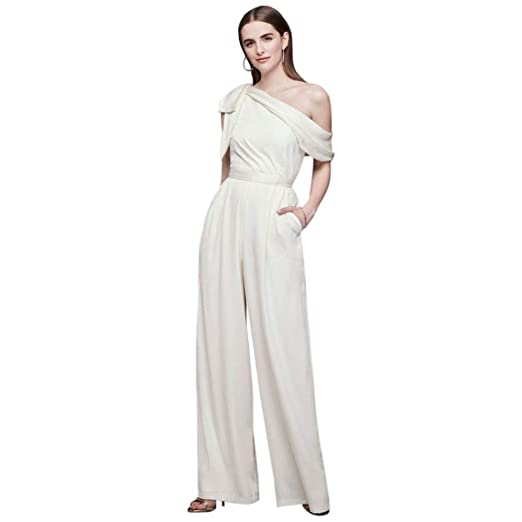 One Shoulder Crepe Wedding Jumpsuit With Bow Style Ds870059 Ivory