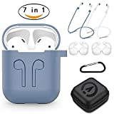 AirPods Case 7 In 1 Airpods Accessories Kits Protective Silicone Cover and Skin for Apple Airpods Charging Case with Ear Hook Airpods Staps/Skin/Tips/Keychain NavyBlue by Amasing
