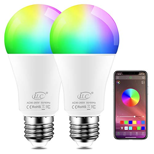 iLC Color Changing LED Light Bulb 8W RGBW Controlled by APP, Sync to Music, Dimmable RGB Multi-Color 60 Watt Equivalent E26 Edison Screw (2 Pack)