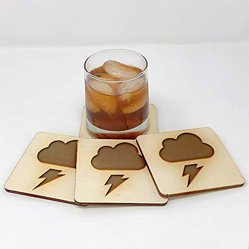 Coasters for Drinks | Lightning (4-Piece Set) - Drink Coaster - Unique Gift Idea for Home 10273
